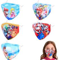 Kids 3D Reusable Breathable Washable Adjustable Cloth Face Masks, Gift for Boys Girls