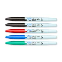 EXPO Vis-A-Vis Wet-Erase Overhead Transparency Markers, Fine Point, Assorted Colors, 5-Count