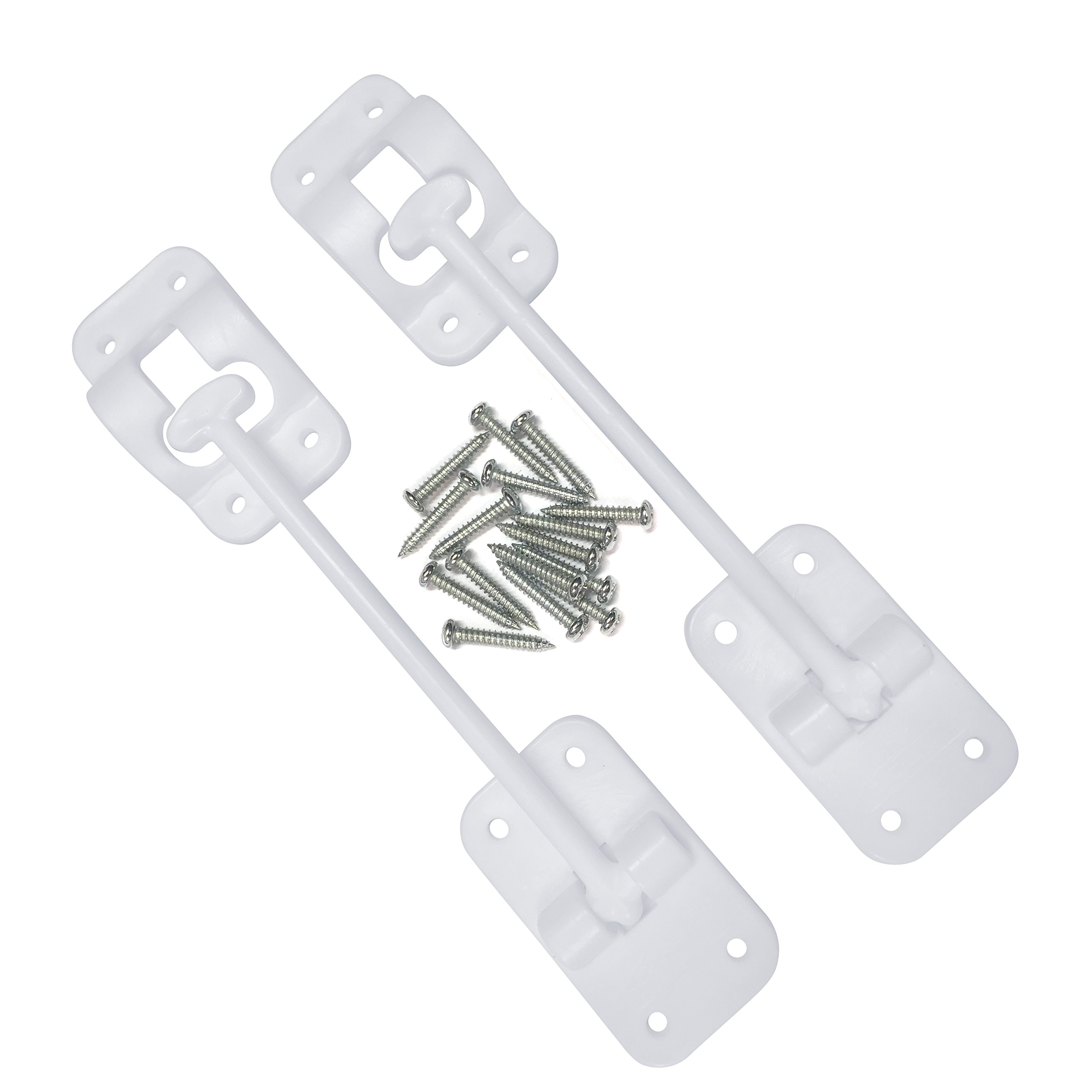 """Camp'N T-Style 6"""" Door Latch-Holder-Catch with Hardware for RV, Trailer, Camper, Motor Home, Cargo Trailer - OEM Replacement (White 2-Piece)"""
