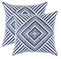 TreeWool (Pack of 2 Decorative Throw Pillow Covers Kaleidoscope Accent 100% Cotton Cushion Shams Cases (22 x 22 Inches / 55 x 55 cm; Navy Blue)