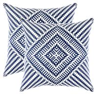 TreeWool, Pack of 2, Throw Pillow Cover Kaleidoscope Accent 100% Cotton Decorative Square Cushion Cases (16 x 16 Inches / 40 x 40 cm; Navy Blue & Off-White)