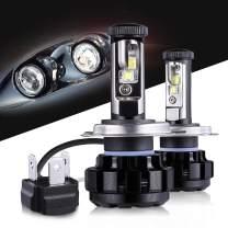 Max5 LED Headlight Bulbs Plug & Play Motorcycle H4(9003) CREE Chips 12000 Lumens 6000K Anti Flicker 9003 Led Headlight Kit Led Conversion Kit, 2 Years Warranty