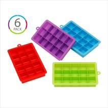 (6 COUNT) KOLORAE SILICONE ICE CUBE TRAYS (15 CUBE)-EASY RELEASE ICE TRAY WITH GREAT FLEXIBILITY AND A MULTI-FUNCTIONALITY PURPOSE-1 OF EACH COLOR PICTURED, PLUS AN ADDITIONAL BLUE AND GREEN TRAY!