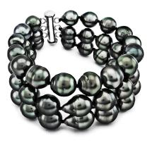 """Sterling Silver 3-Rows 8-10mm Hand-picked Black Off-shape Tahitian Cultured Pearl Bracelet, 7.25"""""""