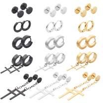 NEWITIN 15 Pairs Stainless Steel Cross Earrings Studs Hoop Earrings Hinged Dangle Cross Earrings for Men and Women