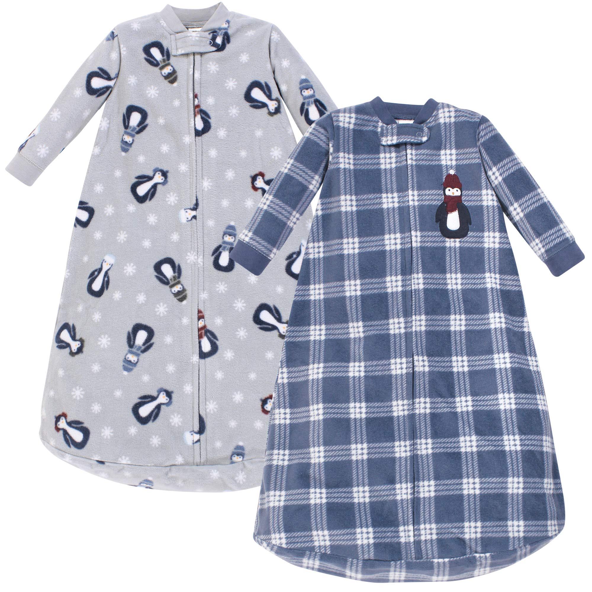 Hudson Baby Unisex Baby Long-Sleeve Fleece Sleeping Bag, Blue Penguin, 0-9 Months