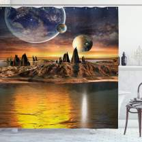 """Ambesonne Fantasy Shower Curtain, Alien Planet with Earth Moon and Mountain Fantasy Sci Fi Galactic Future Cosmos Art, Cloth Fabric Bathroom Decor Set with Hooks, 84"""" Long Extra, Marigold Brown"""