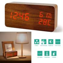 perfeo Digital Alarm Clock, 3 Alarm Settings, with Wooden Electronic LED Time Display, Temperature & Humidity Detect, Ideal for Bedroom, Bedside, Kids, Batteries not Needed