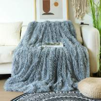 """Decorative Extra Soft Faux Fur Blanket Queen Size 78"""" x 90"""",Solid Reversible Fuzzy Lightweight Long Hair Shaggy Blanket,Fluffy Cozy Plush Fleece Comfy Microfiber Blanket for Couch Sofa Bed,Light Gray"""
