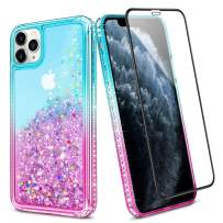 Wollony for iPhone 11 Pro Max Case with Tempered Screen Protector Glitter Girly Protective Liquid for Women Shockproof Sparkle Bling Shiny Bumper Girls Gift for iPhone 11 Pro Max 6.5inch Lake-Pink