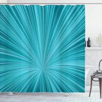 """Ambesonne Teal Shower Curtain, Abstract Vortex Design with Fireworks Celebration Monochrome Artwork, Cloth Fabric Bathroom Decor Set with Hooks, 75"""" Long, Turquoise Teal"""