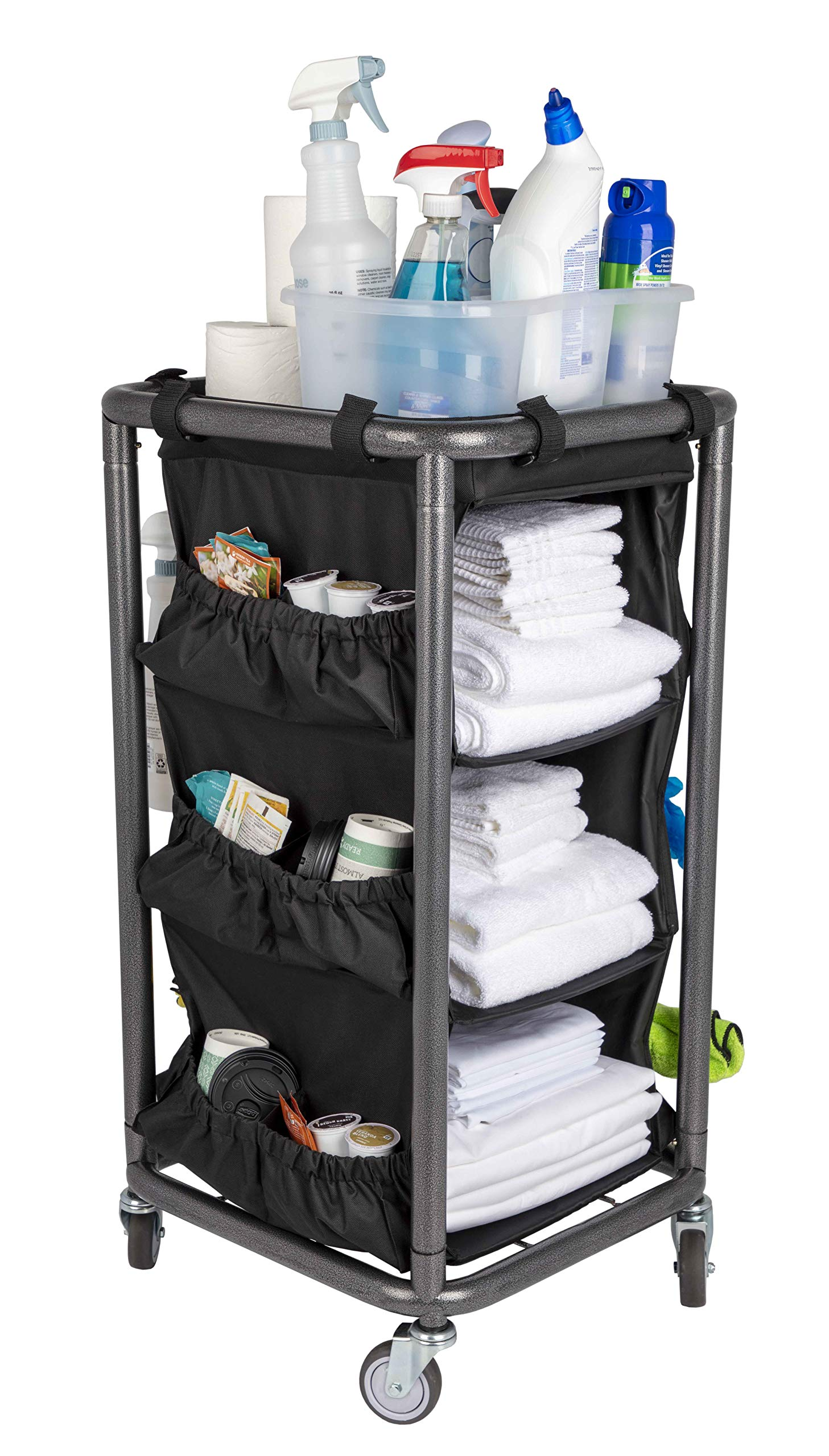 Housekeeping and Janitorial Cart with Rolling Wheels, Black Bag, Compact Steel Frame, Hammertone Finish
