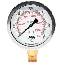 """Winters PFQ Series Stainless Steel 304 Dual Scale Liquid Filled Pressure Gauge with Brass Internals, 0-3000 psi/kpa,4"""" Dial Display, +/- 1.5% Accuracy, 1/2"""" NPT Bottom Mount"""