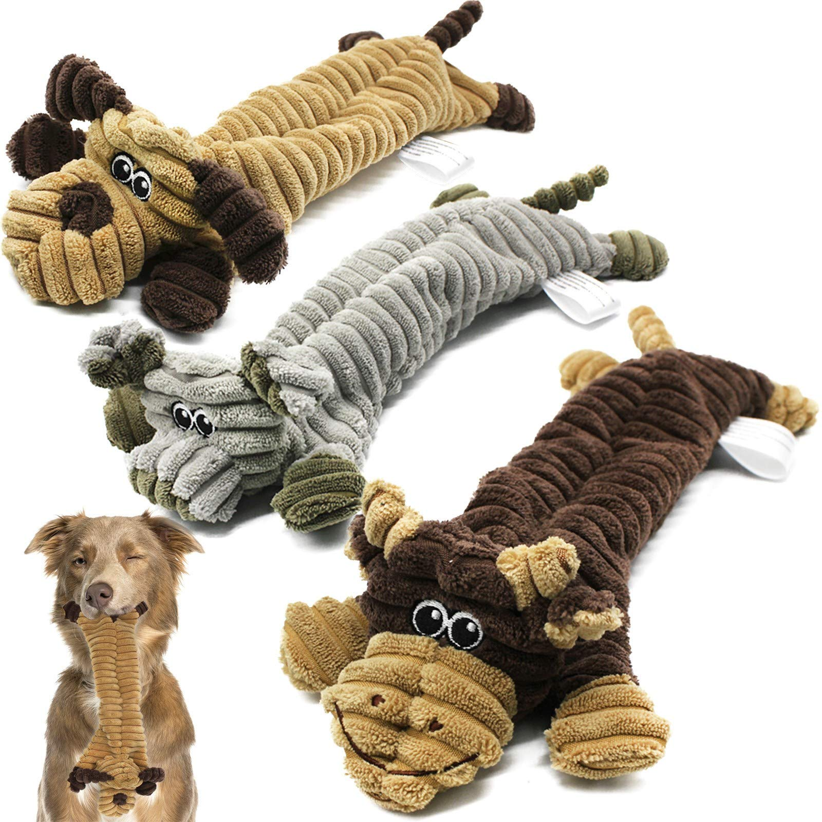 Dog Squeaky Toys 3 Pack,Crinkle No Stuffing Animals Dog Toy for Puppy Teething,Durable Interactive Dog Chew Toys for Dogs Training