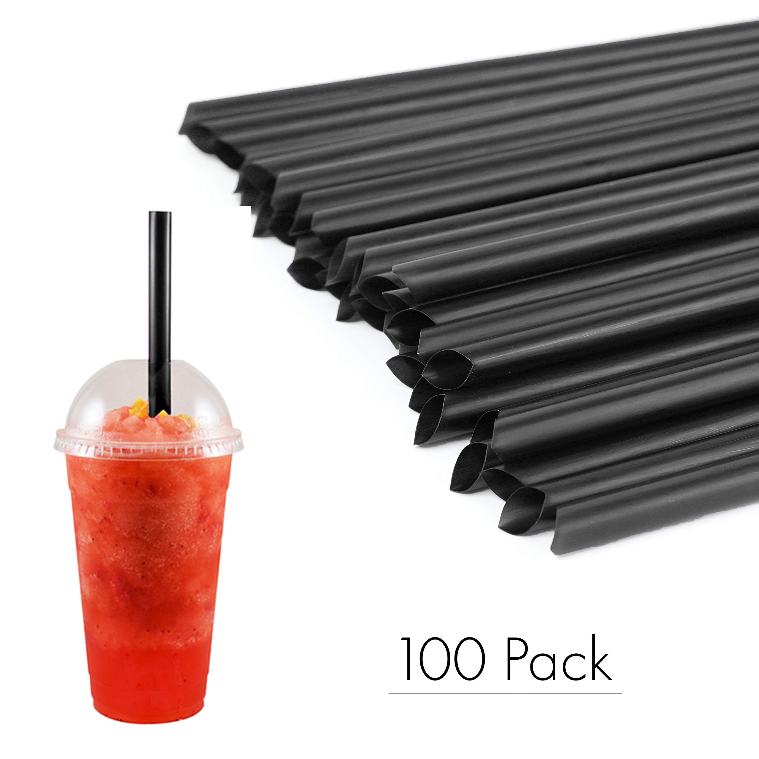 """Houseables Milkshake Straws, Large Straw, 10.5"""" Long, 0.5"""" Diameter, 100 Pack, Black, Plastic, Big, Disposable, Jumbo, BPA Free, Extra Wide, for Boba, Shake, Smoothies, Drinking, Smoothie Container"""