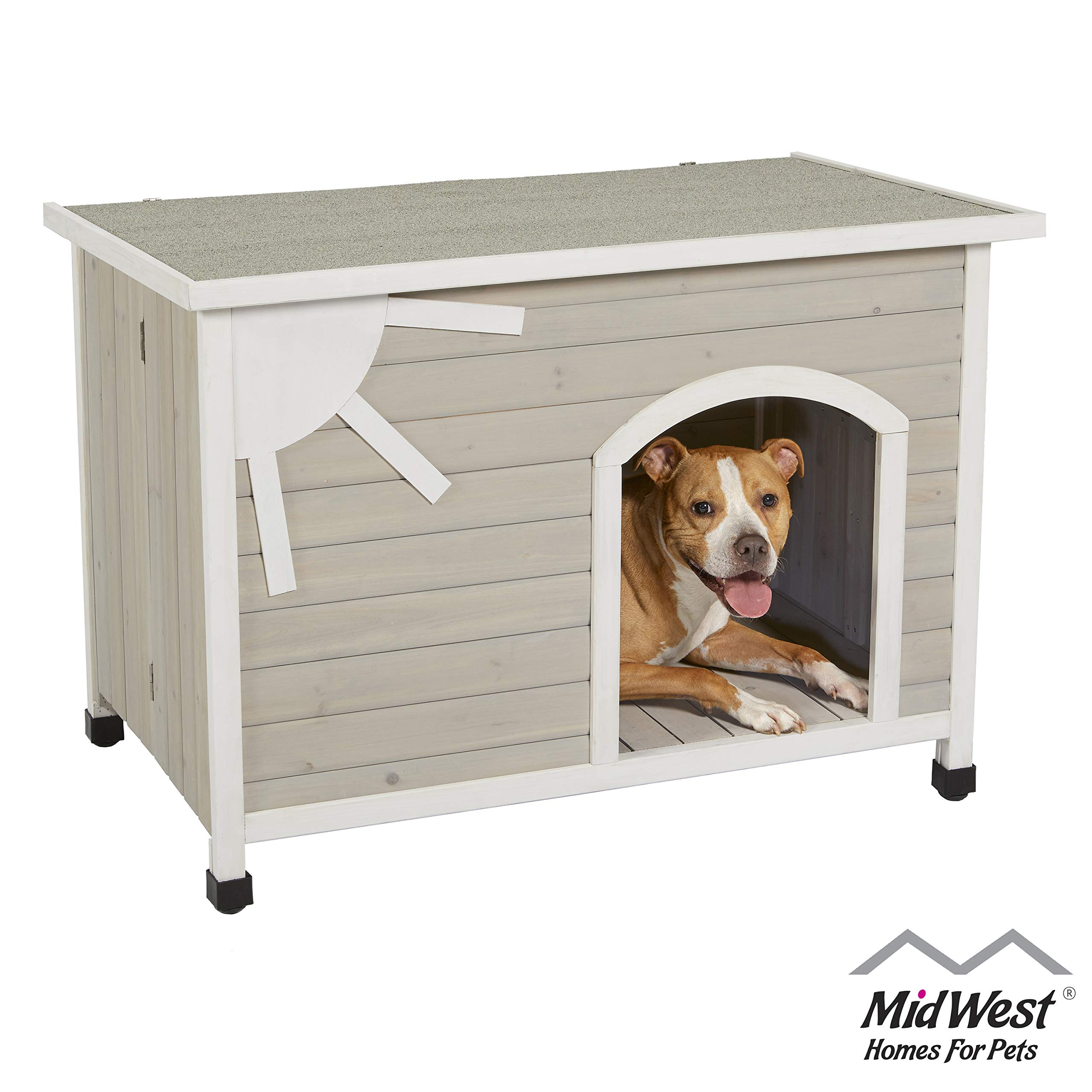 "MidWest Homes for Pets Eilio Outdoor Dog House | Durable Dog House Features Easy ""No-Tools"" Assembly"