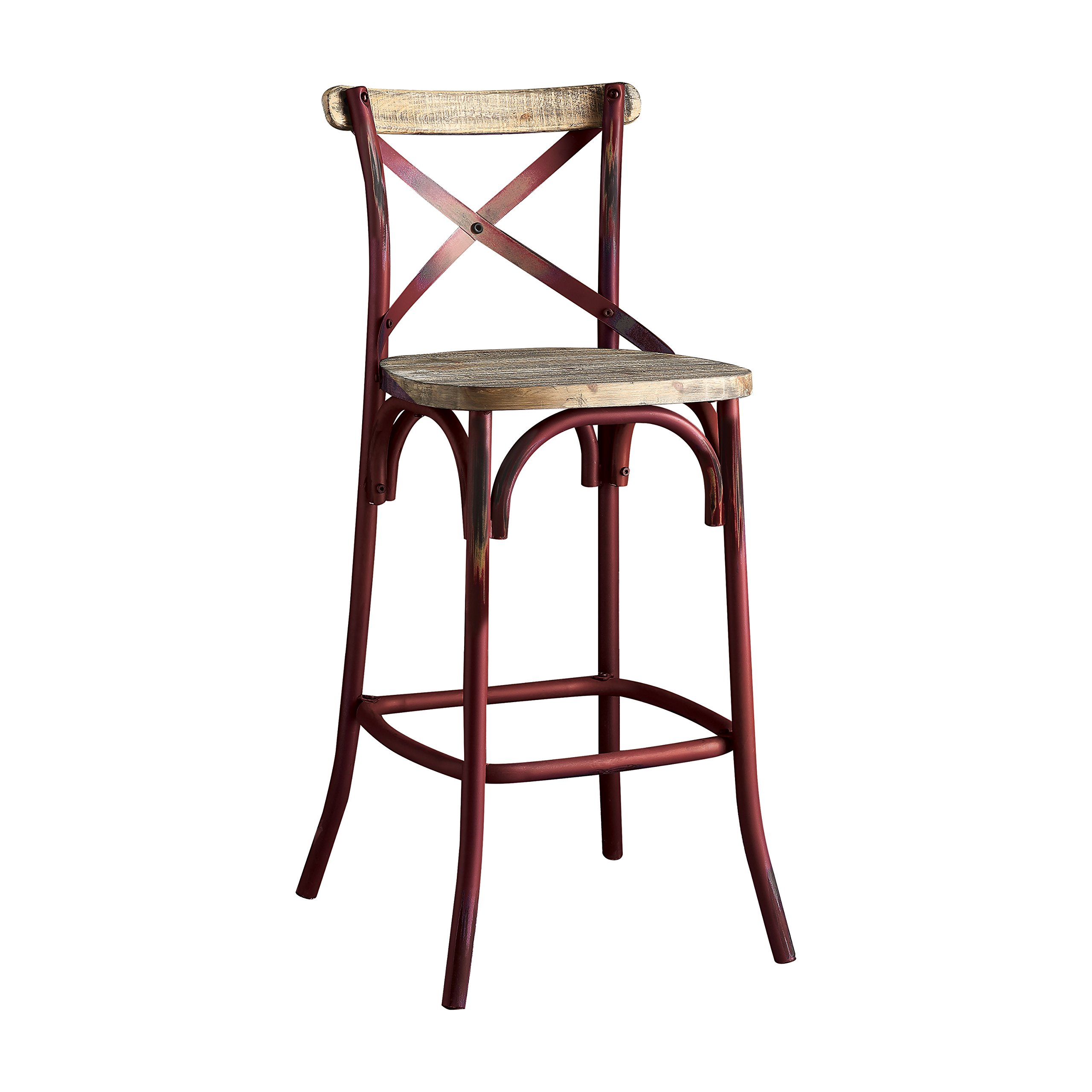 "ACME Zaire Bar Chair (1Pc) - - Antique Red & Antique Oak - 29"" Seat Height"
