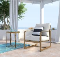 Elle Decor ODCH10003A Mirabelle Outdoor Arm Chair, Gold