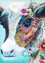 EOBROMD 5D Diamond Painting Full Drill, Crystal Rhinestone Paint with Diamonds Embroidery Pictures Arts Crafts for Home Wall Decor - Cow 12 x 16inch