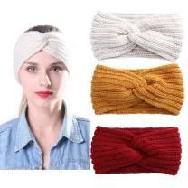 AWAYTR Elastic Knitted Pearl Turban Headband-3 Pcs Woobies Head Wrap Simple Adjust Hair Band for Women Girls