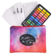 36 Watercolor Paint Set with Water Color Paper, 3 Water Brush, 1 Traditional Brush, Metal Tin with Mixing Palette, Standard and Neon Watercolors, Portable Watercolor Kit, Watercolor Gift Set