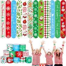 BBTO 46 Pieces Christmas Slap Bracelets Christmas Slap Bands Print Craft with Snowflakes, Santa Claus, Snowman, Elk Patterns , Snap Bracelets Party Favors Accessory Supplies
