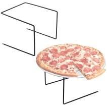 Set of 2 Metal Pizza Pan Riser Stands, Tabletop Food Platter Tray Display Racks, Black