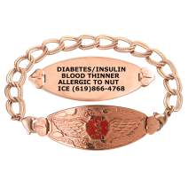 Divoti Custom Engraved Medical Alert Bracelets for Women, Stainless Steel Medical Bracelet, Medical ID Bracelet w/Free Engraving–PVD Rose Gold Angel Wing w/PVD Rose Gold Double Link – Color/Size