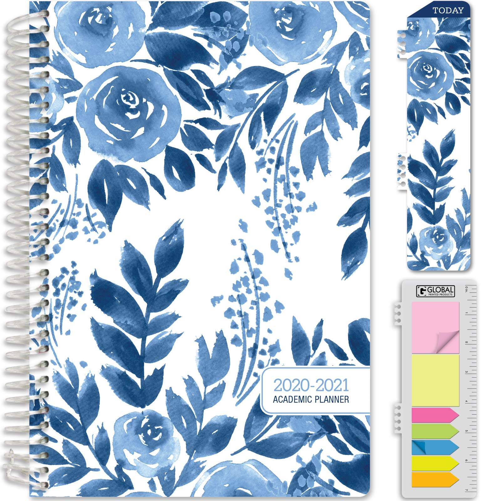 """HARDCOVER Academic Year 2020-2021 Planner: (June 2020 Through July 2021) 5.5""""x8"""" Daily Weekly Monthly Planner Yearly Agenda. Bonus Bookmark, Pocket Folder and Sticky Note Set (Blue Bloom)"""