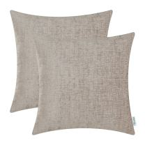 CaliTime Pack of 2 Cozy Throw Pillow Covers Cases for Couch Sofa Home Decoration Solid Dyed Soft Chenille 20 X 20 Inches Light Taupe