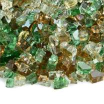 Prairie Gold - Fire Glass Blend for Indoor and Outdoor Fire Pits or Fireplaces | 10 Pounds | 1/4 Inch, Reflective