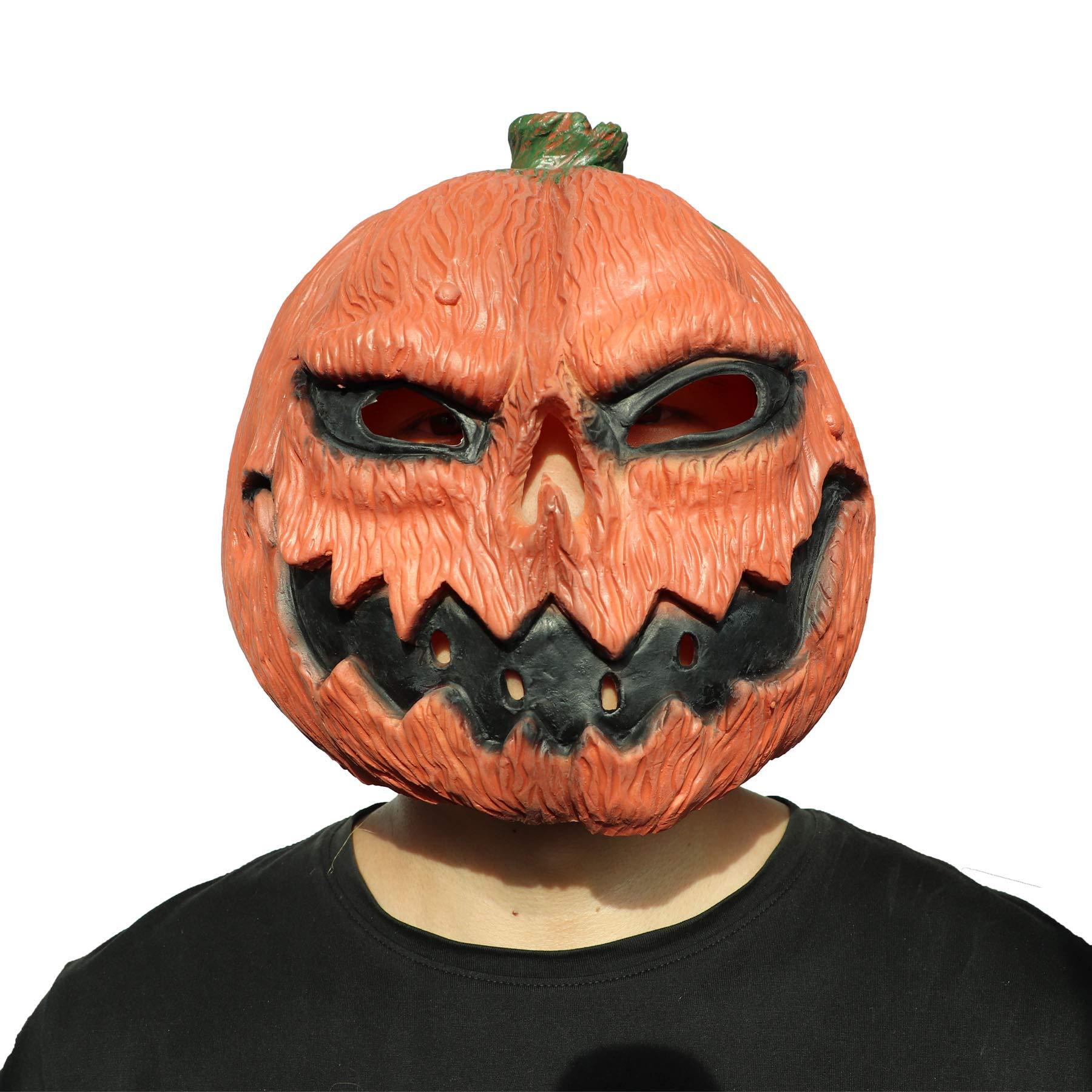 ifkoo Pumpkin Mask Deluxe Novelty Halloween Costume Party Props Pumpkin Latex Head Mask Orange