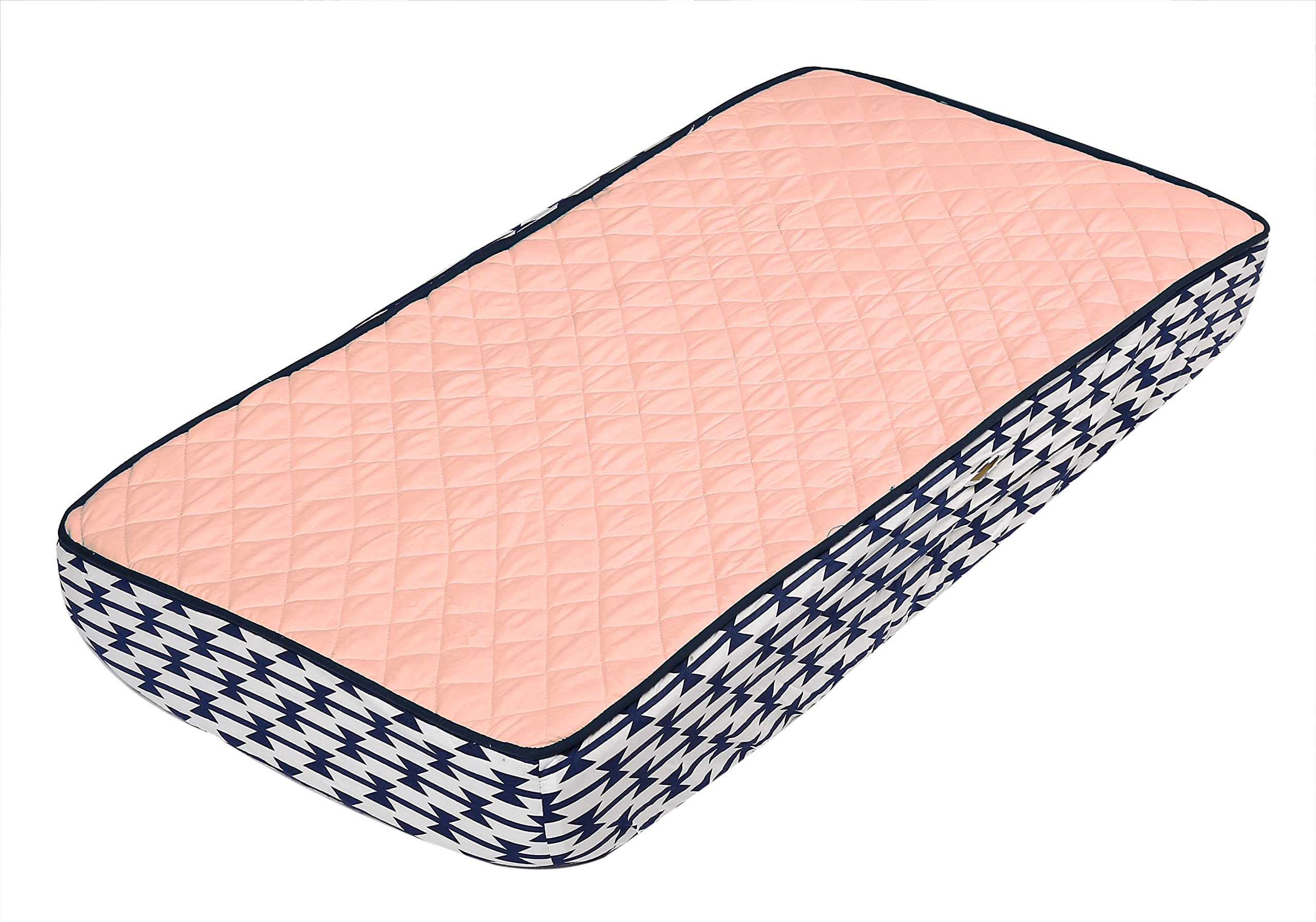 Bacati Emma Aztec Quilted Top Cotton Percale with Polyester Batting Diaper Changing Pad Cover, Coral/Navy