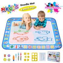 "Large Magic Water Drawing Mat 38.5""x29.5"" Learning Toys for 2 Year Olds Doodle Mat Painting Mat Toddler Girl Boy Toys Age 2 3 4 5 6 Gift Water Coloring Mat Kids Educational Toys Gift Box 5 Water Pens"