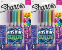 Sharpie Permanent Markers, Ultra Fine Point, Cosmic Color, Limited Edition, 5 Count - 2 Pack