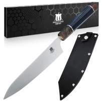 Brooklyn Knife Co. Chef Knife -Gyuto Hoseki Series - Japanese AUS-10 High Carbon Steel - Sheath, Brown 8-Inch