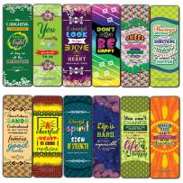 Creanoso Cheerful Quotes Motivational Bookmarks (12-Pack) - Bookmarker for Men Women Teens Boy Girls Kids - Educational Reading Bookmarks - Motivational Quotes - Stocking Stuffers