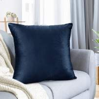 "Nestl Bedding Throw Pillow Cover 24"" x 24"" Soft Square Decorative Throw Pillow Covers Cozy Velvet Cushion Case for Sofa Couch Bedroom - Navy Blue"