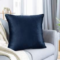 "Nestl Bedding Throw Pillow Cover 26"" x 26"" Soft Square Decorative Throw Pillow Covers Cozy Velvet Cushion Case for Sofa Couch Bedroom - Navy Blue"