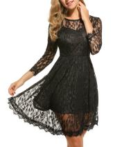 Zeagoo Women's Floral Lace 3/4 Sleeves Cocktail Party Wedding Swing Mini Dress