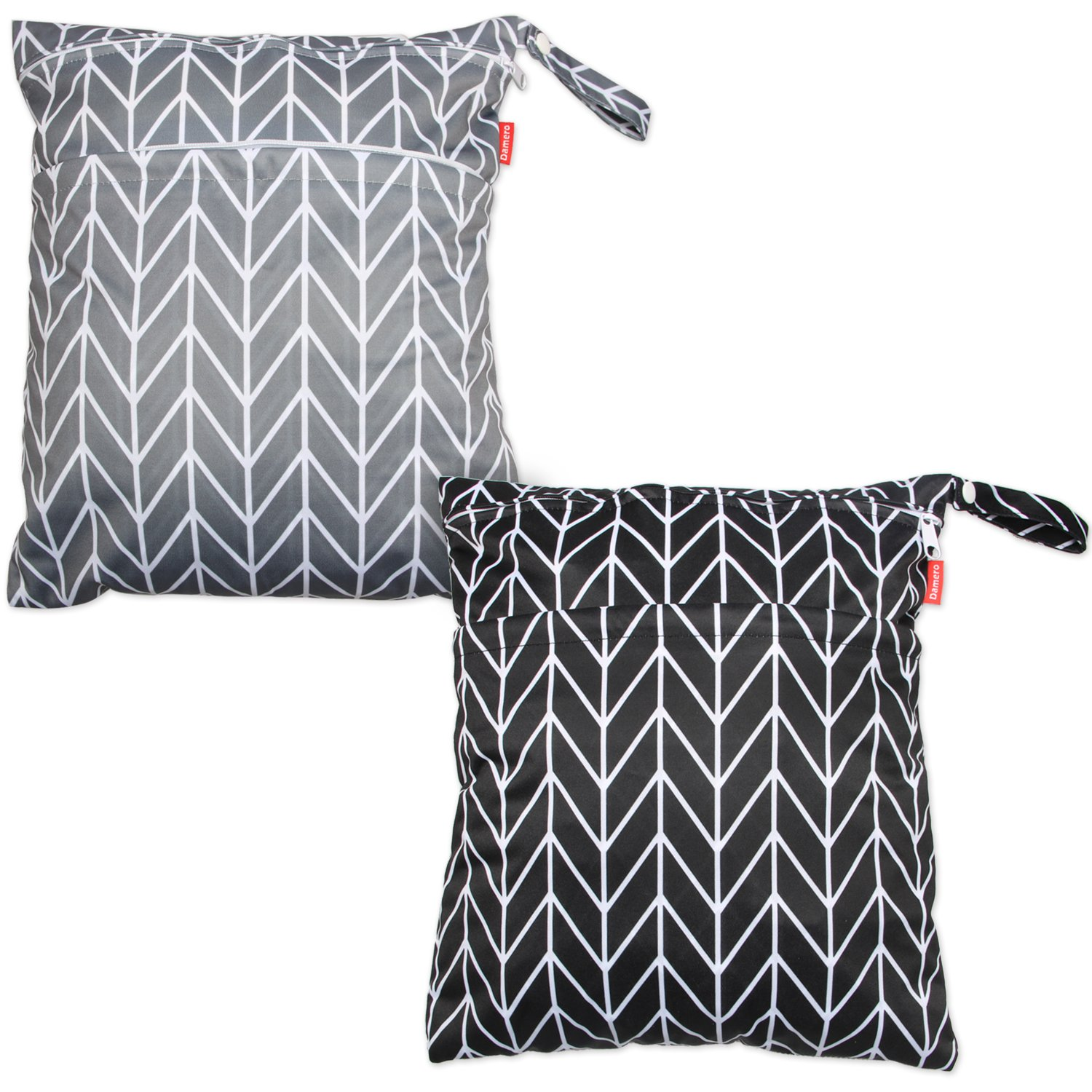Pumping Parts Swimsuit and More Damero 2pcs Travel Wet and Dry Bag with Handle for Cloth Diaper Easy to Grab and Go Clothes Medium, Gray Srips+ Black Strips