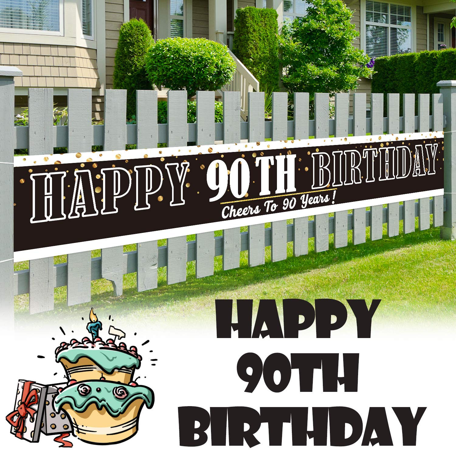LINGPAR 9.8 x 1.6 ft Large Sign Happy 90th Birthday Banner - Cheers to 90 Years Old Decor