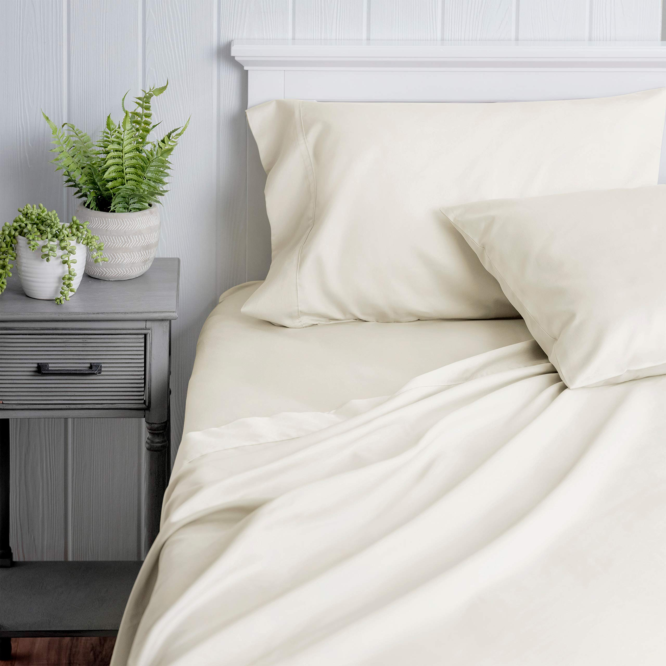 Welhome 100% Cotton Sateen King Sheet Set - 4 Piece - Luxurious - Super Soft & Cozy - Durable - Classic - All Season Bed Sheet Set - Deep Pocket - Easy fit -Ivory