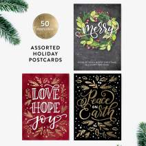 50 Holiday Postcards, Merry, Hand-Lettered Merry Christmas Postcard Set, Hand-lettered Holiday Postcards, Happy New Year Postcards, Season's Greetings Postcards