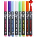 Stationery Island Chalk Markers W30 Pack Of 8 Neon Colors – 3mm Fine Bullet Nibs. Wet Wipe Erase Liquid Chalk Pens. For Glass (Windows & Mirrors), Whiteboards, Signs And Non-Porous Blackboards
