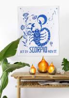 Madhu International Graphic Zodiac Flag Tapestry Zodiac Sign Scorpio Astrology Tapestry The Universal Sign Horoscope Celestial Tapestries Hippie Wall Hanging with Steel Grommets for Easy Hanging