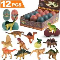 iGeeKid 12PCS Dinosaur Eggs, Fun Dinosaur Toys for Boys, Filled Eggs with Toys 12 Different 3D Dinosaur Building Block Puzzles Dinosaurs Gift Birthday Party Supplies for Boys