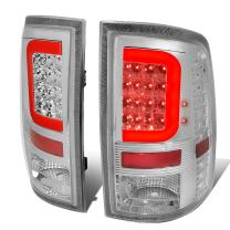 Replacement for Dodge Ram Pair Chrome Housing Clear Lens Red 3D LED Light Bar Tail Lights