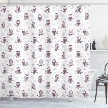 """Ambesonne Owl Shower Curtain, Cartoon Style Illustration of Owls on The Branches Mysterious Woods Print, Cloth Fabric Bathroom Decor Set with Hooks, 70"""" Long, Eggplant White"""
