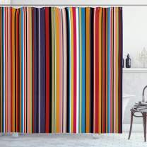 """Ambesonne Abstract Shower Curtain, Vibrant Colored Stripes Vertical Pattern Funky Modern Tile Illustration, Cloth Fabric Bathroom Decor Set with Hooks, 84"""" Long Extra, Orange Purple"""